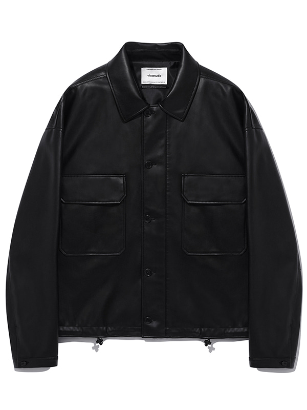 VEGAN LEATHER WEB JACKET KS [BLACK]
