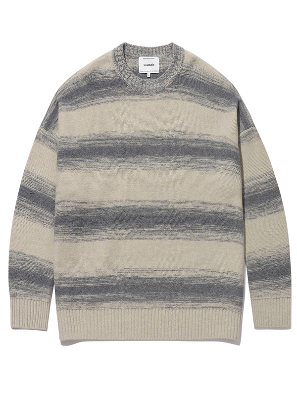 STRIPE OVER FIT KNIT KS [IVORY]
