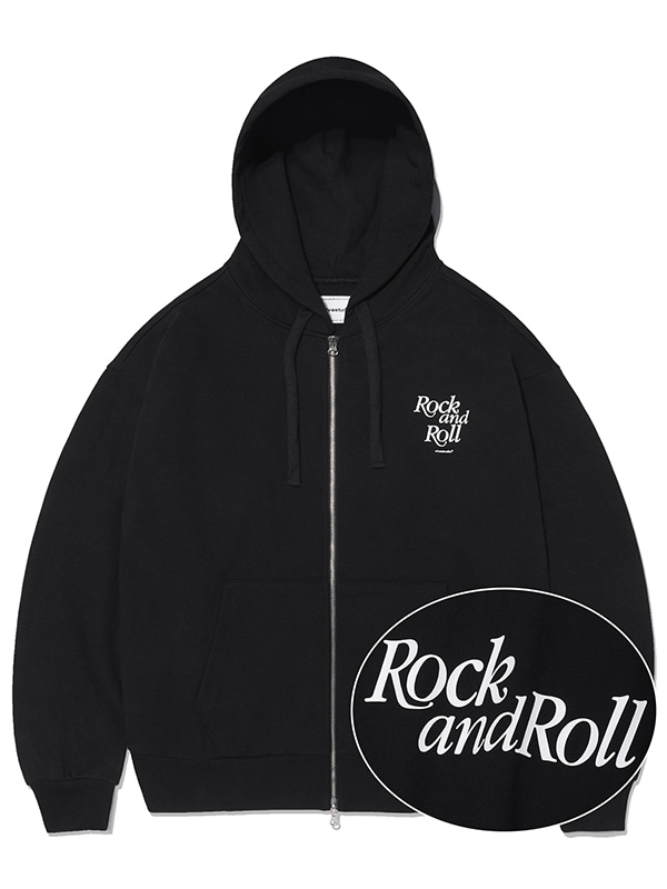 ROCK AND ROLL ZIP-UP HOODIE KS [BLACK]