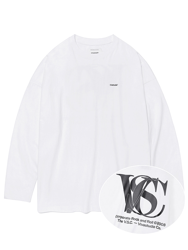 OVER FIT LOGO L/S TEE KS [WHITE]