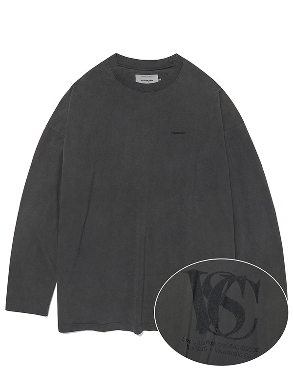 OVER FIT LOGO L/S TEE KS [CHARCOAL]