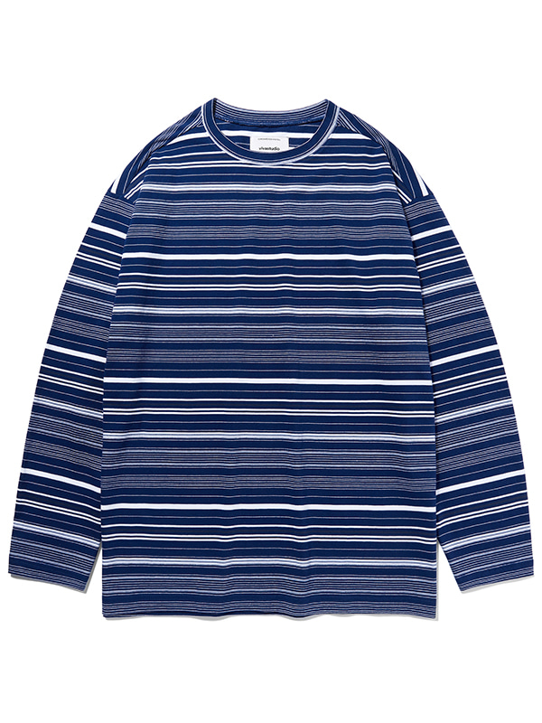 STRIPE L/S TEE KS [MULTI BLUE]