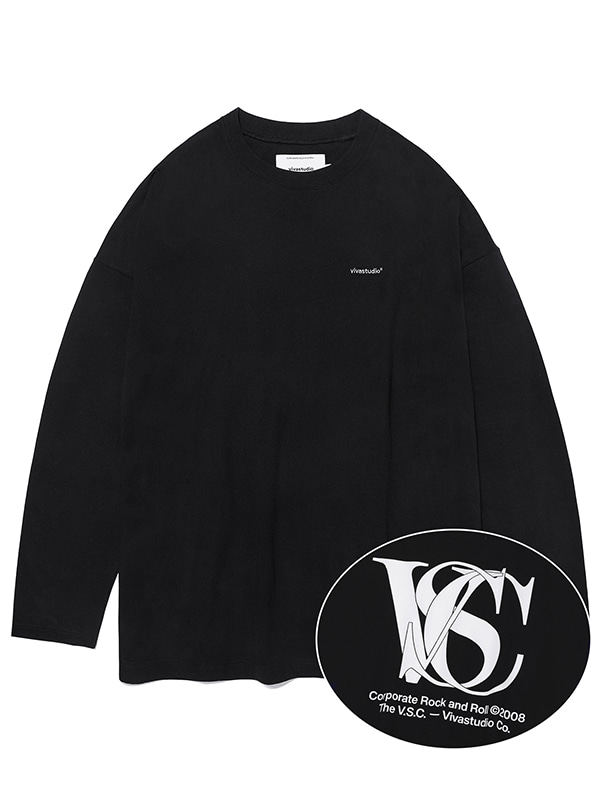 OVER FIT LOGO L/S TEE KS [BLACK]