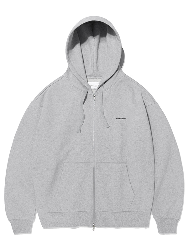 BASIC LOGO HOOD ZIP UP KS [MELANGE GREY]