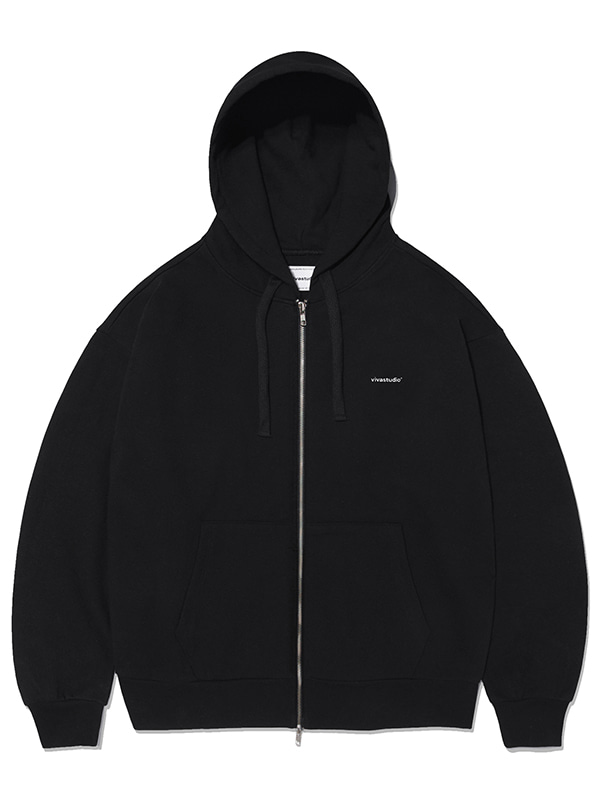BASIC LOGO HOOD ZIP UP KS [BLACK]