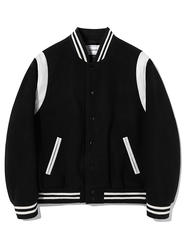 FELT WOOL STADIUM JACKET KS [BLACK]