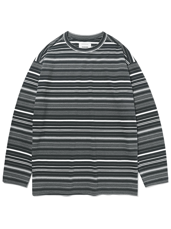 STRIPE L/S TEE KS [MULTI BLACK]