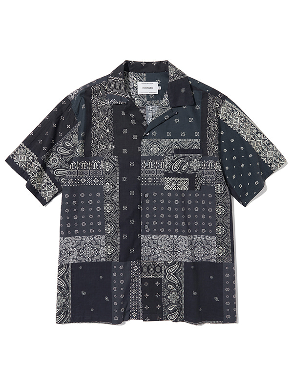 TWO TONE BANDANA SHIRTS KS [BLACK]