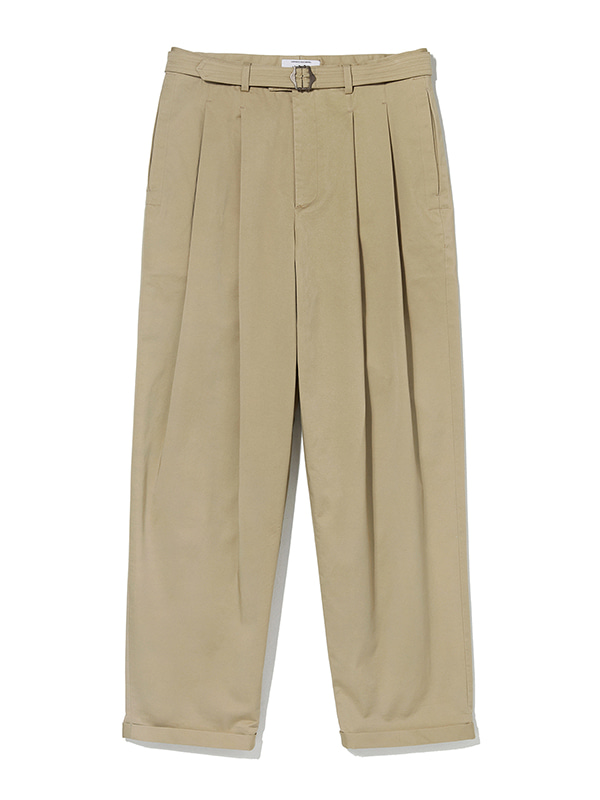 TWO TUCK CHINO PANTS KS [BEIGE]